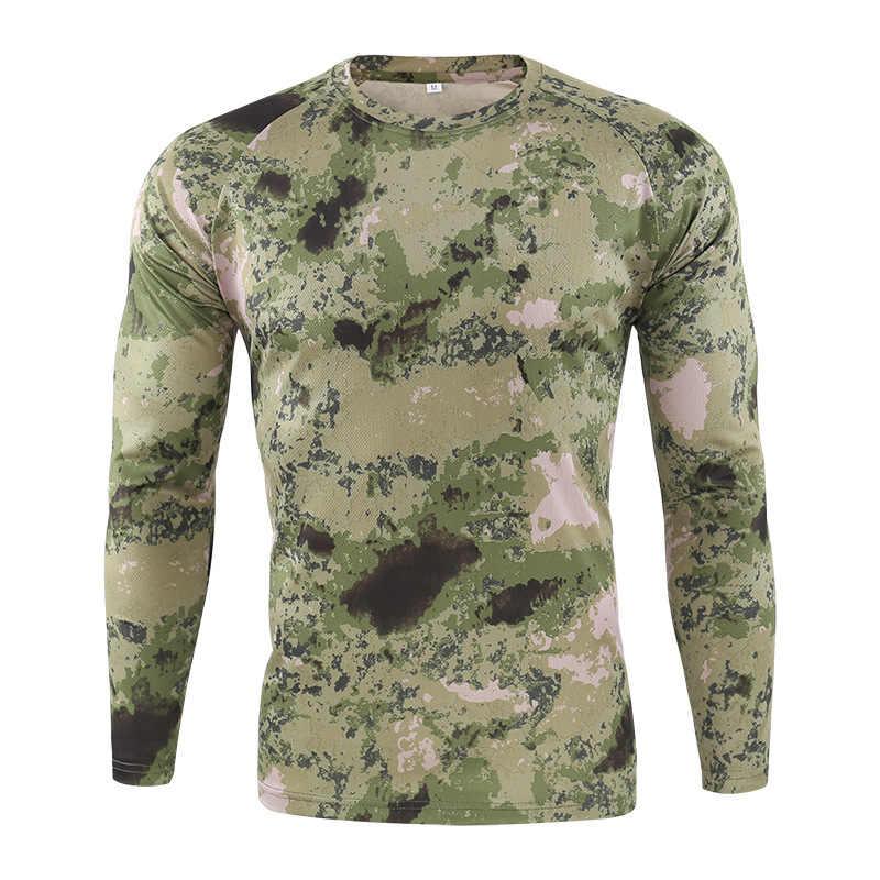 2019 Nieuwe Tactische Militaire Camouflage T-shirt Mannen Ademend Snel Droog Army Combat Volledige Mouw Uitloper T-shirt Voor Mannen S-3XL