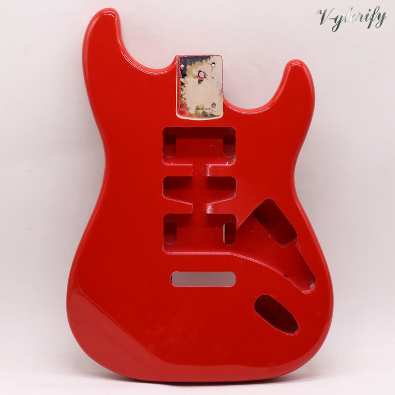 okoume wood red color ST guitar body high gloss electric guitar barrel body guitar barrel accessory guitar parts