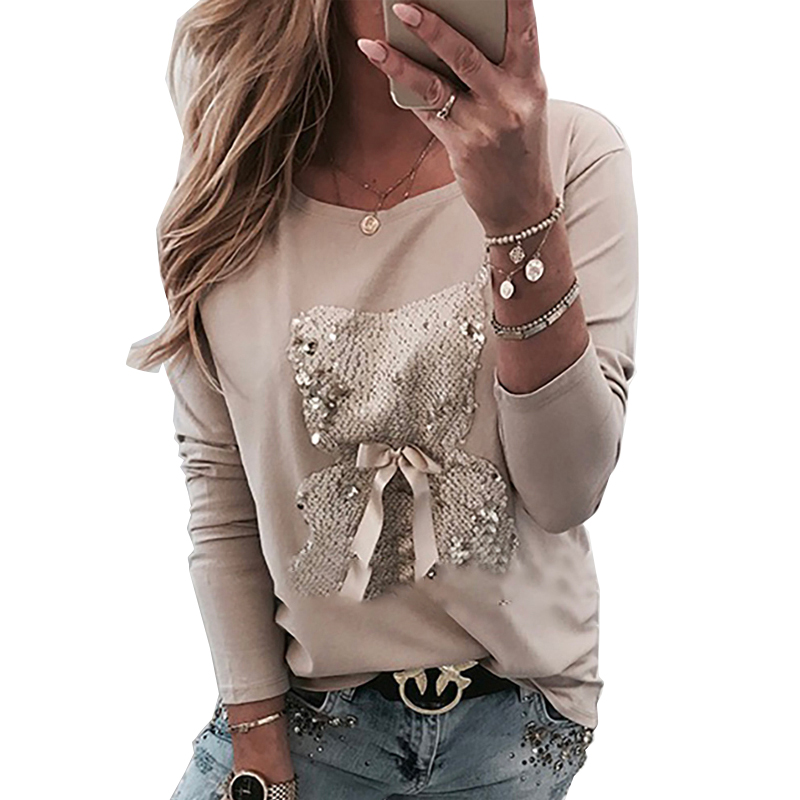 Cute T Shirt Long Sleeve Women O-neck Bear Graphics Tshirt Casual Spring Fall Sequin Bow Tie Tee Top Korean Clothes 2020 SJ5095X image