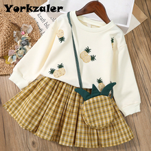 Suit Pineapple Toddler Girls New-Brand Skirt Sweat-Shirt 3-Pieces Children for Fall Clothing