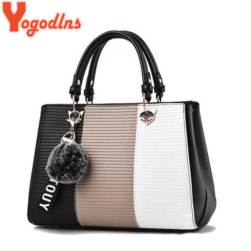 Yogodlns Trendy Patchwork Farben Messenger Umhängetaschen Damen Täglichen Handtasche Mode Qualität Schulter Sling Tasche + haar ball