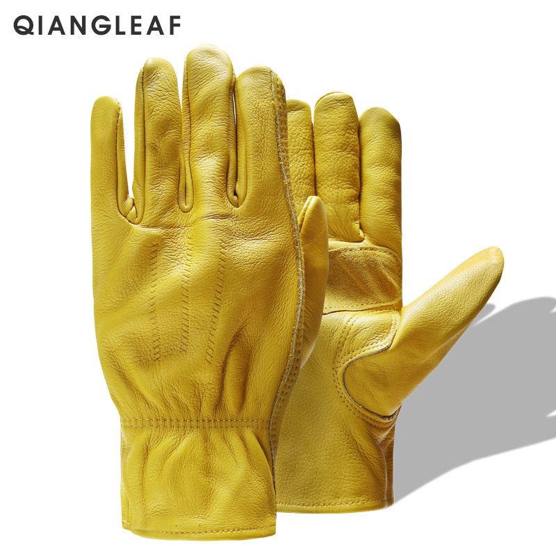 QIANGLEAF Brand New Men's Work Gloves Cowhide GlovesLeather Security Protection Wear Men Safety Winter Working Welding Glove 3ZG