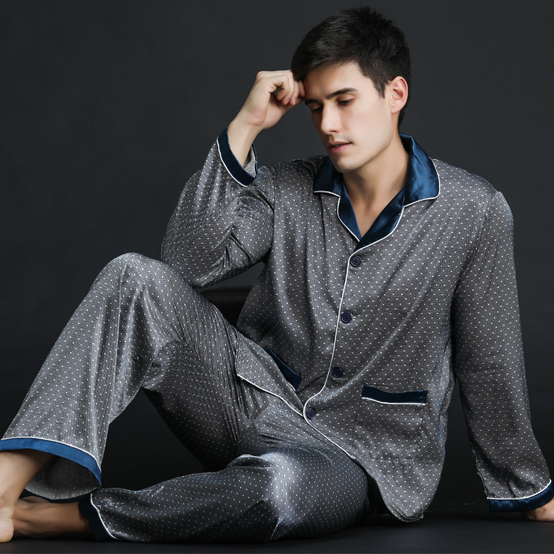 Spring Men's Satin Silk Pyjamas Sets Men Long-Sleeve Pajamas Male Sexy Sleepwear Leisure Home Clothing Plus Size Free Delivery