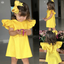 Summer Infant Baby Girls Fly Sleeve Solid Bow Dress Clothes Dresses dress for girls elegant kids dresses for girls costume kids# cheap TELOTUNY 0-6m 7-12m 13-24m Print CN(Origin) Female Short Puff Sleeve Casual Ruched Fits true to size take your normal size