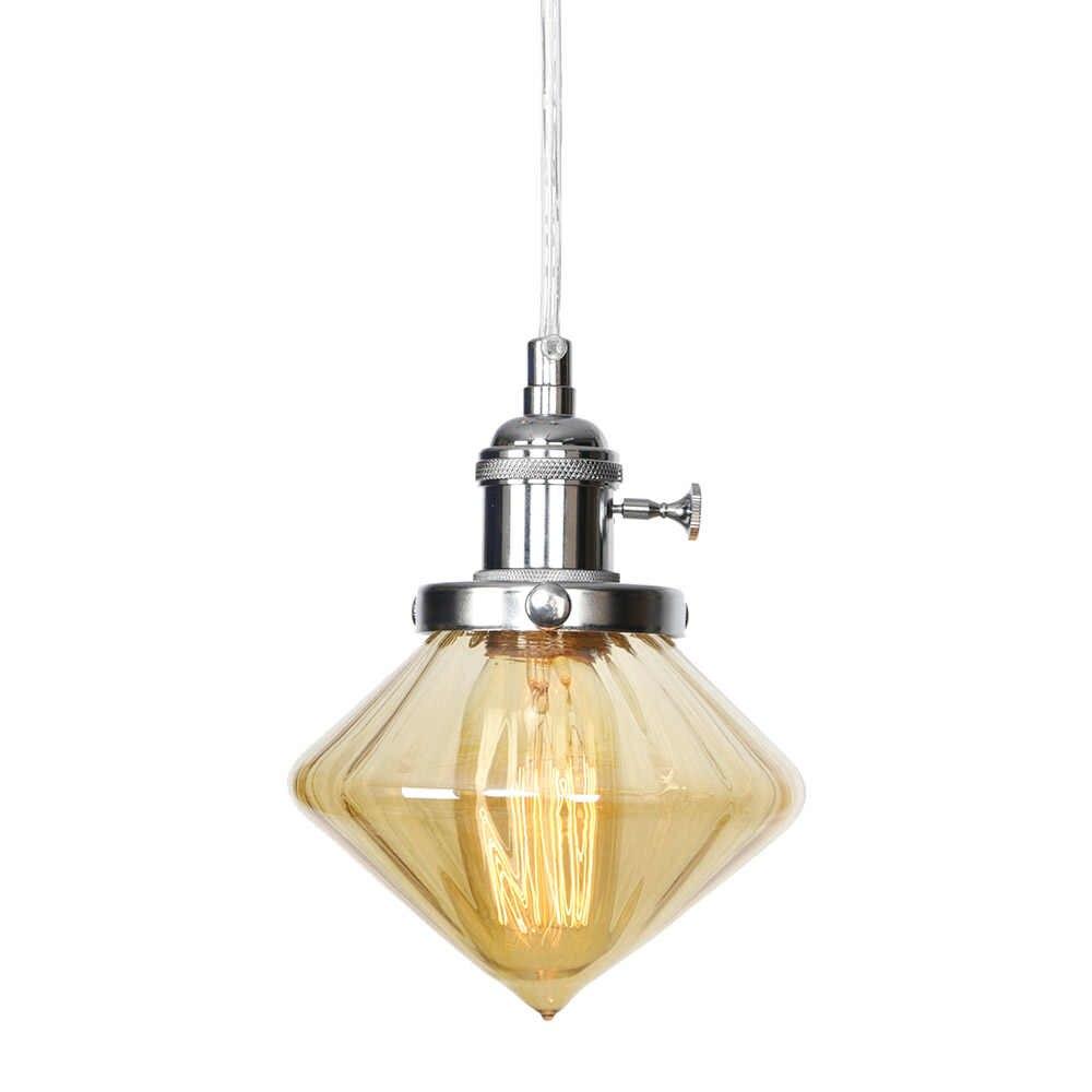 עתיק לופט סגנון LED תליון אור ברזל בציר תליית מנורת זכוכית להתאים מתג אוכל חדר בית תפאורה תאורת גופי