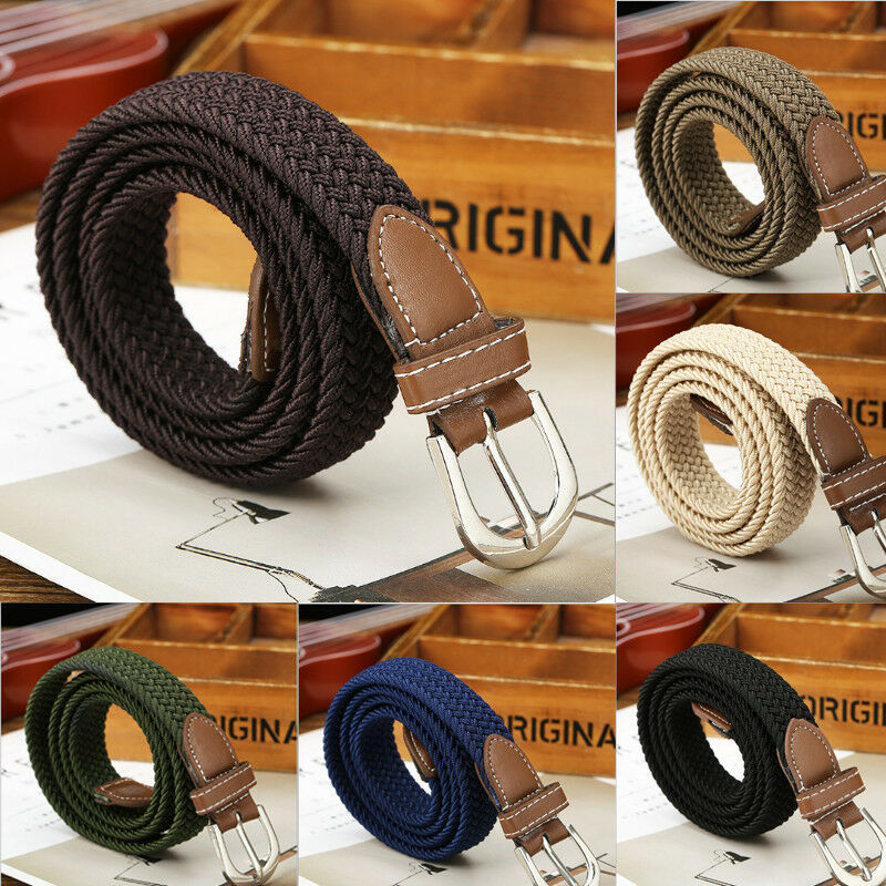 Meihuida Men Casual Elastic Stretch Waist Belt Canvas Braided Woven Leather Belt Jeans Fashion Waistband