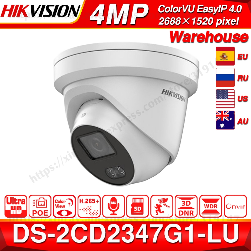 Hikvision ColorVu Original IP Camera DS-2CD2347G1-LU 4MP Network Bullet POE IP Camera H.265 CCTV Camera SD Card Slot EasyIP 4.0