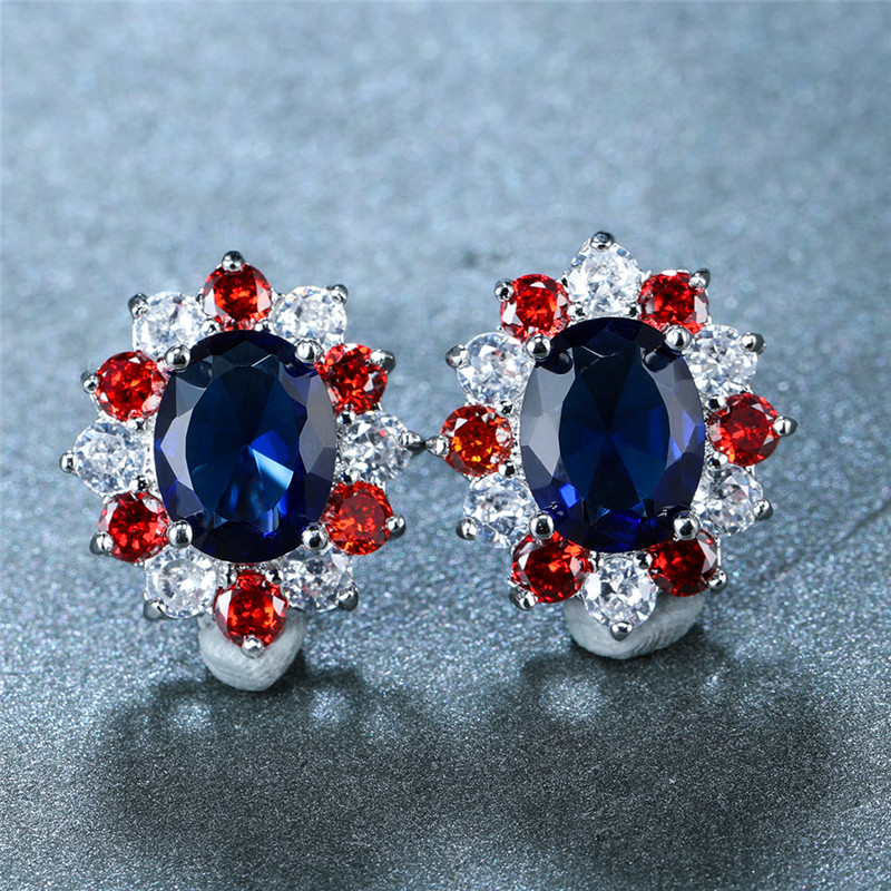 Vintage Female Red Purplr Crystal Earrings Cute Oval Zircon Flower Stud Earrings Simple Silver Color Wedding Earrings For Women