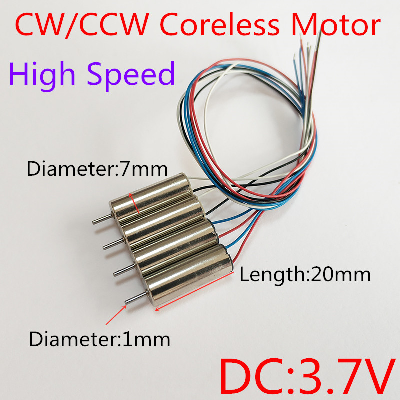 Free Shipping 720 Coreless Motor CW Motor+CCW Motor For Hubsan X4 H107 Udirc 816 WL 939 7X20 MINI Quadcopter