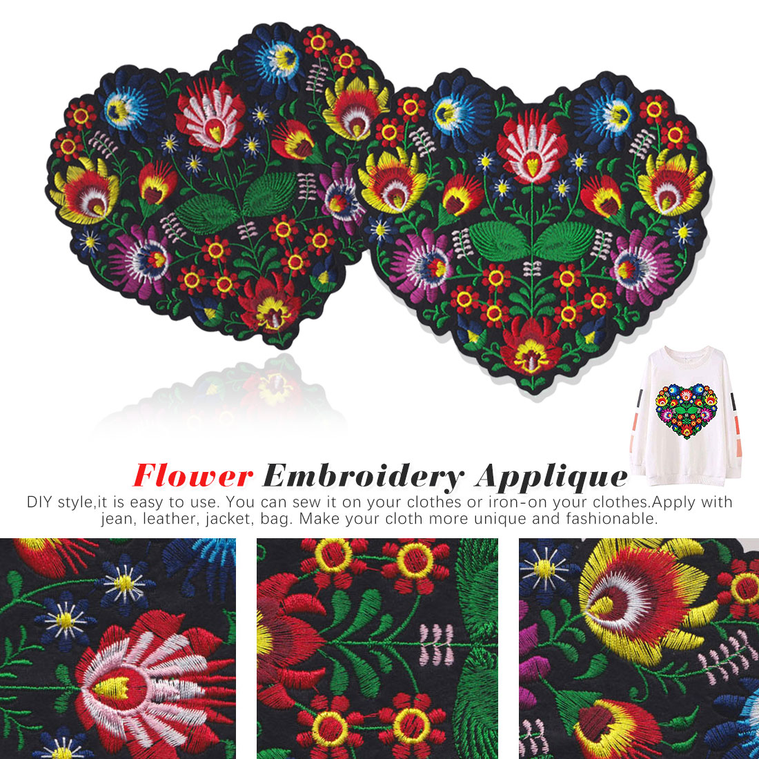 Flower  Embroidery Applique Patches Clothing Iron On Patch For DIY Clothes Jackets Sewing Craft