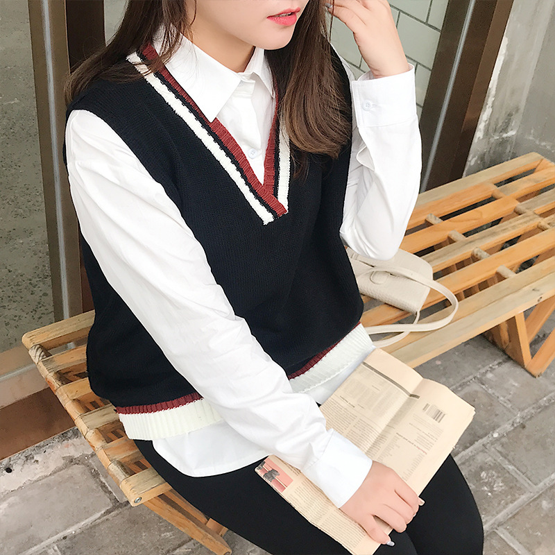 Large Size WOMEN'S Suit White Shirt + Wool V-neck Vest Fat Mm Plus-sized Loose-Fit-Style Two-Piece 9126