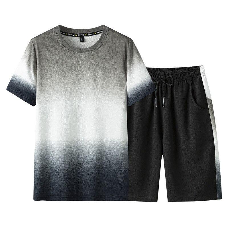 Men's Tracksuit Male Sportswear Set Fitness Summer Print Men Shorts + T Shirt Men's Suit 2 Pieces Sets Asian Size M-3XL