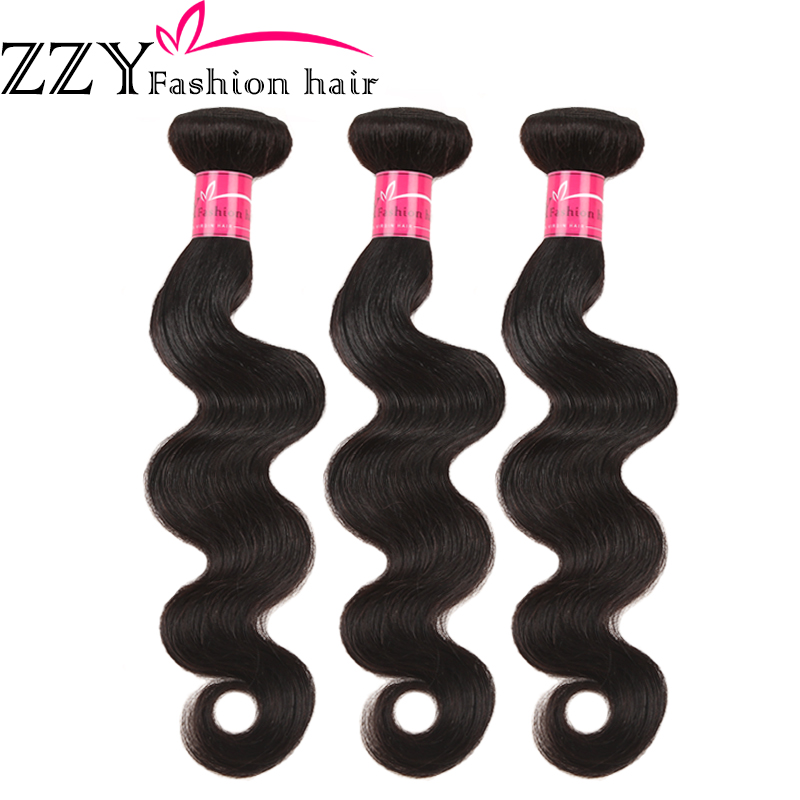 ZZY Fashion Hair Brazilian Body Wave Hair Bundles Non-remy 8-26 Inch Human Hair Weave Extensions 3 Bundles Natural Color Hair