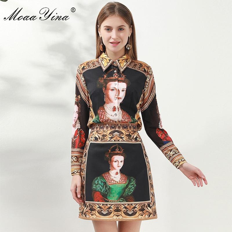 MoaaYina Fashion Set Women Long Sleeve Vintage Queen Print  Shirt Tops+Skirt Elegant Two-piece Set
