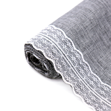 30×275 cm Gray Lace Table Runner Natural Jute Burlap Imitated Linen Table cloth Party Rustic Wedding Decor Home Textile