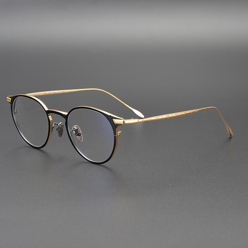 2019 High Quality Pure Titanium Glasses Frame Men Women Fashion Retro Round Circle Eyeglasses With Non-prescription Clear Lens
