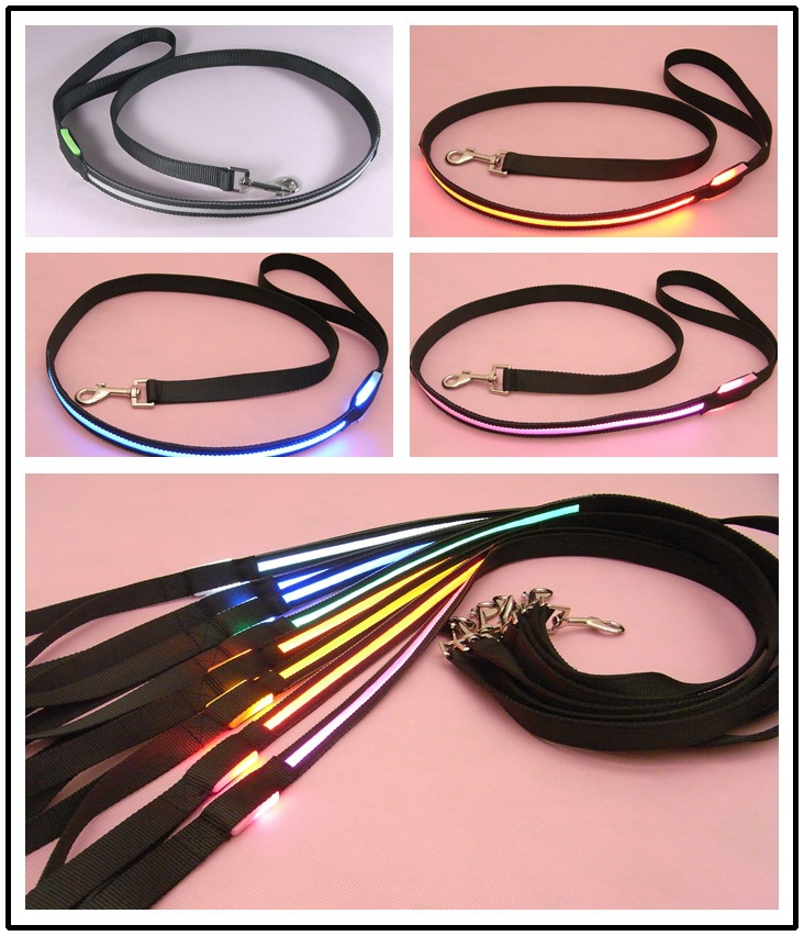 2.0 Cm Width Black-Wire Screen Traction Belt LED Shining Pet Traction Dog Rope 8 Color-
