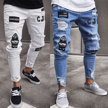 Mens Badge Jeans European and American Men's Trend Knee Holes Zipper Feet Holes Denim Trousers Ripped Jeans for Men Men Clothing knee holes frayed zipper fly narrow feet ripped jeans