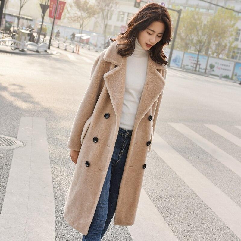 Real Fur Coat Women Winter Sheep Shearing 100% Wool Jacket Korean Clothes Long Jackets Manteau Femme LL108 KJ3126