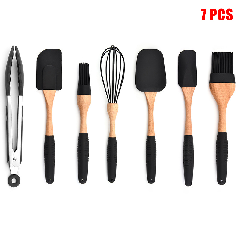Silicone Non-stick Cooking Baking Utensils Tools Set Heat Resistant Spoon Spatula Egg Beaters Kitchen Accessories DTT88