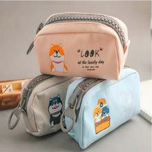 Creative cartoon cute dog big zipper girl heart large capacity pencil case  pen bag