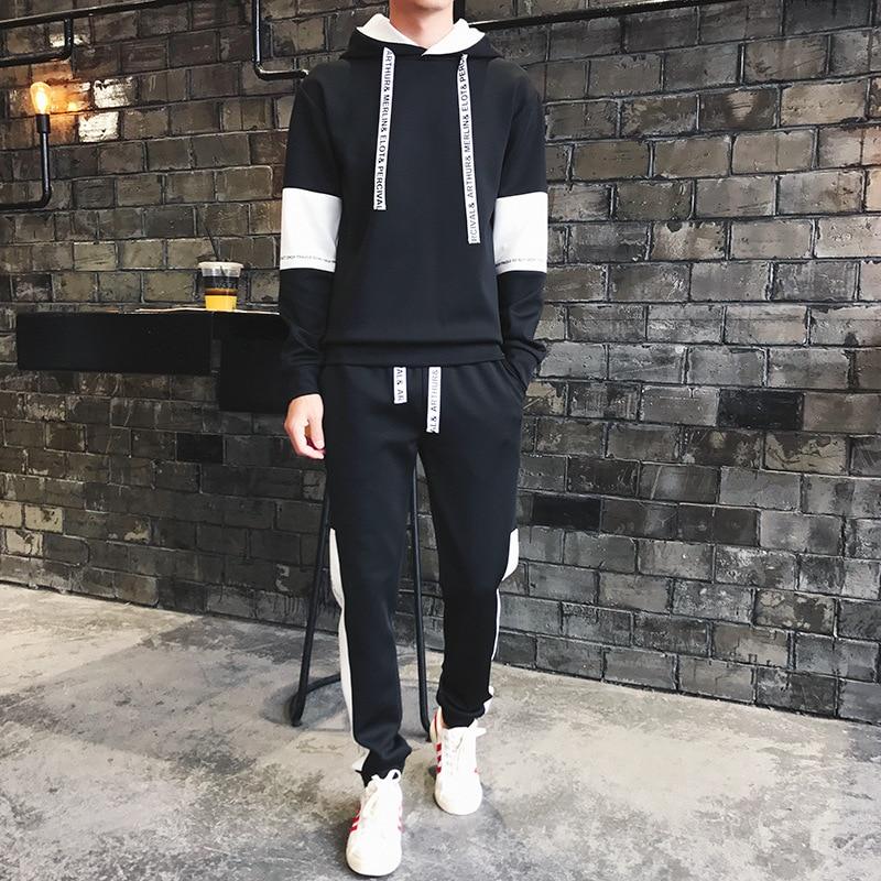 Men's Autumn Mens Tracksuit 2 Piece Set Hoodies Sweatpants Sweatsuit Gym Hip Hop Streetwear Sweatshirts Ropa Para Hombre Casual