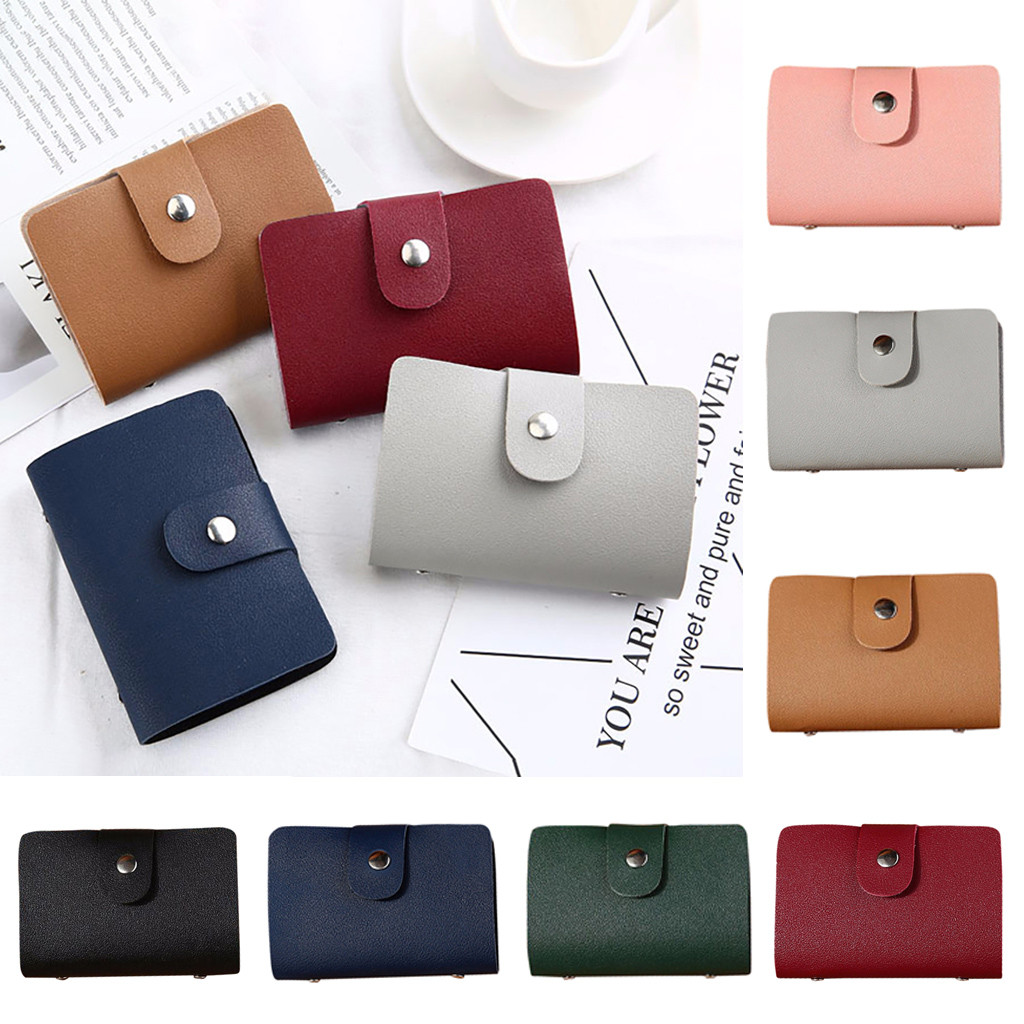 Men Women Leather Credit Card Holder Case Card Wallet Business Card 24 Bit tarjetero porte carte cover обложка на паспорт