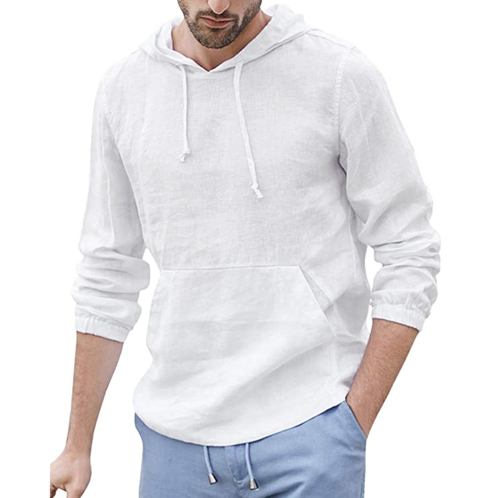 Womail Men Shirts Long Sleeve 2019 New Arrivals Mens Baggy Cotton Linen Shirt Pocket Hooded Long Sleeve Retro Shirts Tops