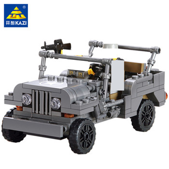 199Pcs Military US Army Willys MB Jeep Airborne Car WW2 Weapon Building Blocks Soldiers Bricks Brinquedo Juguetes Playmobil Toys
