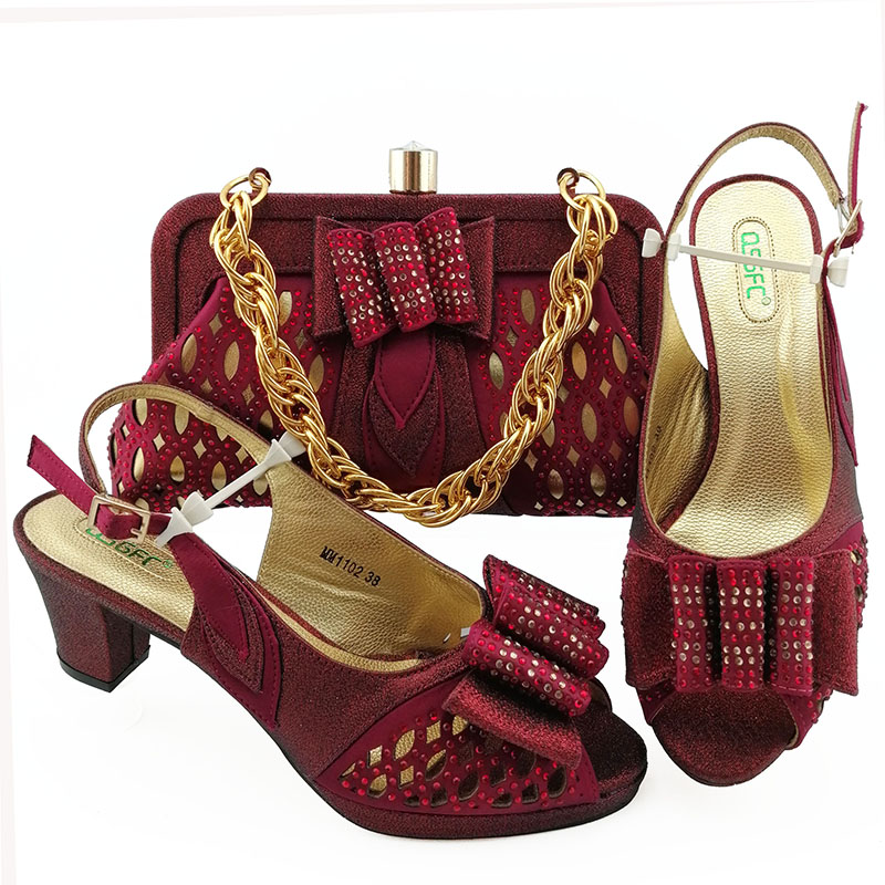Marroon sandal shoes and clutches bag matching set for nigeria wedding party match shinning lace dress matching set SB8451-6