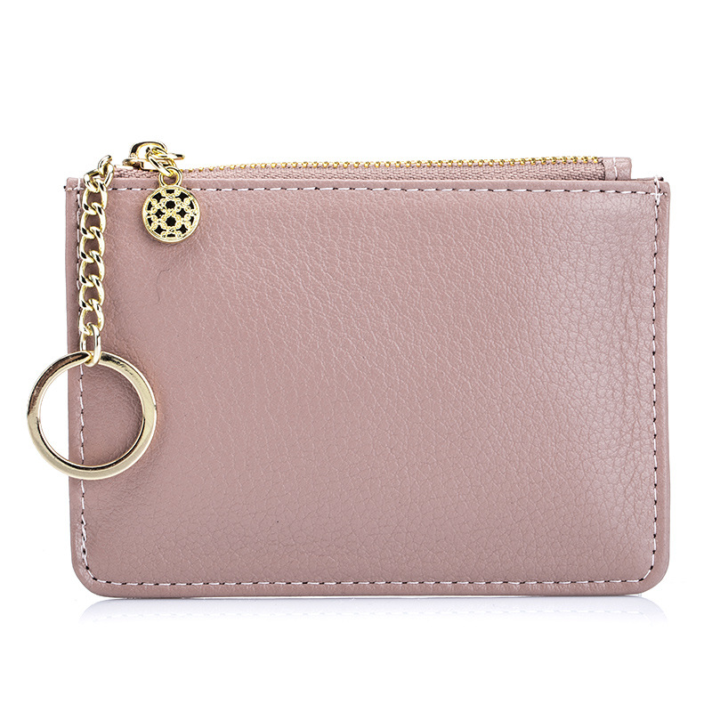 Solid Color Japan Foreign Trade Coin Bag Women's Genuine Leather New Style Solid Color Simple Mini Purse Key Thin