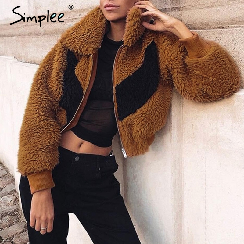 Simplee Casual Contrast Color Women Faux Fur Coat Zipper Pockets Female Winter Warm Coats Chic Shaggy Ladies Outwear Fur Jackets