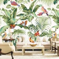 Тропическая картина с птицами обои для развития творчества для спальни ТВ фон настенная пейзаж Банановый Лист обои для стен