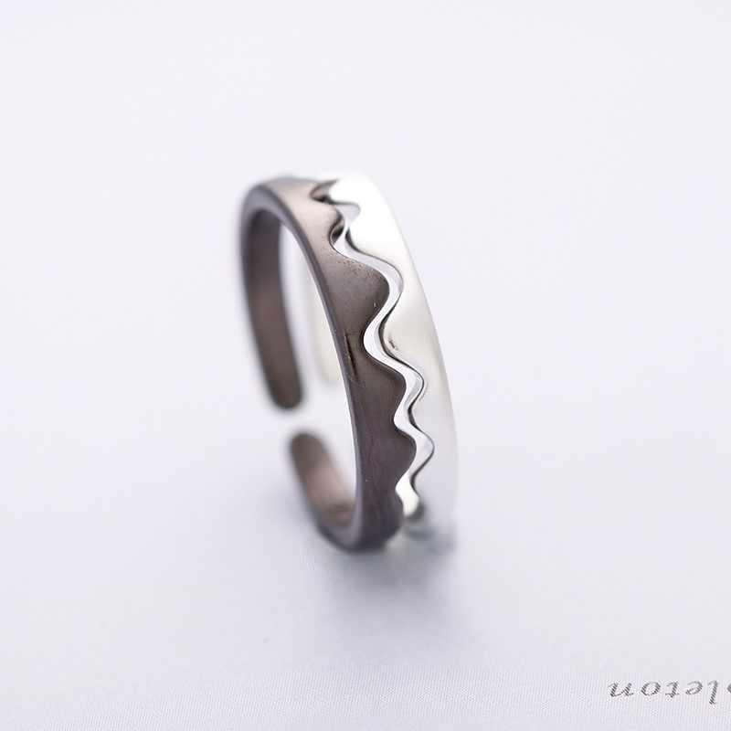 Warna Perak Hitam Putih Beberapa Cincin 925 Bergelombang Geometris Gunung Bentuk untuk Wanita Pria Adjustable Jari Cincin Perhiasan Pecinta Hadiah