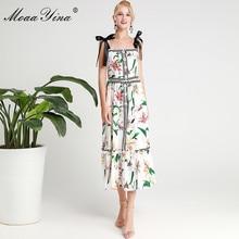 MoaaYina Fashion Designer Runway dress Spring Summer Women Dress Spaghetti Strap lily Floral-Print Dresses