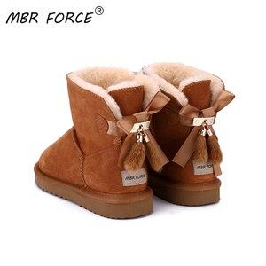 Женские замшевые ботинки MBR FORCE, зимние теплые ботинки из воловьей кожи с подкладкой из короткого плюша и меха норки, с бантиками и кисточкам...