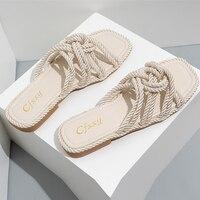 Zapatillas de cáñamo con personalidad para mujer, Sandalias planas con diseño superior, informales, de Color sólido, punta cuadrada, zapatos de tacón plano hueco