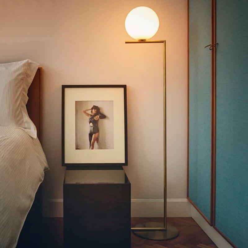Lampadaire boule Led moderne lampadaire luxe glod lampadaire verre blanc lampe sur pied salon chevet Deco éclairage sur pied - 3