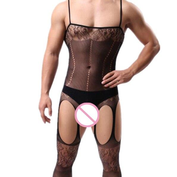 Men's Gay Sexy Lingerie Bodysuit Exotic Plus Size Sex Sling Sleepwear Porno Nightgown Crotchless Body Stockings Male Underwear