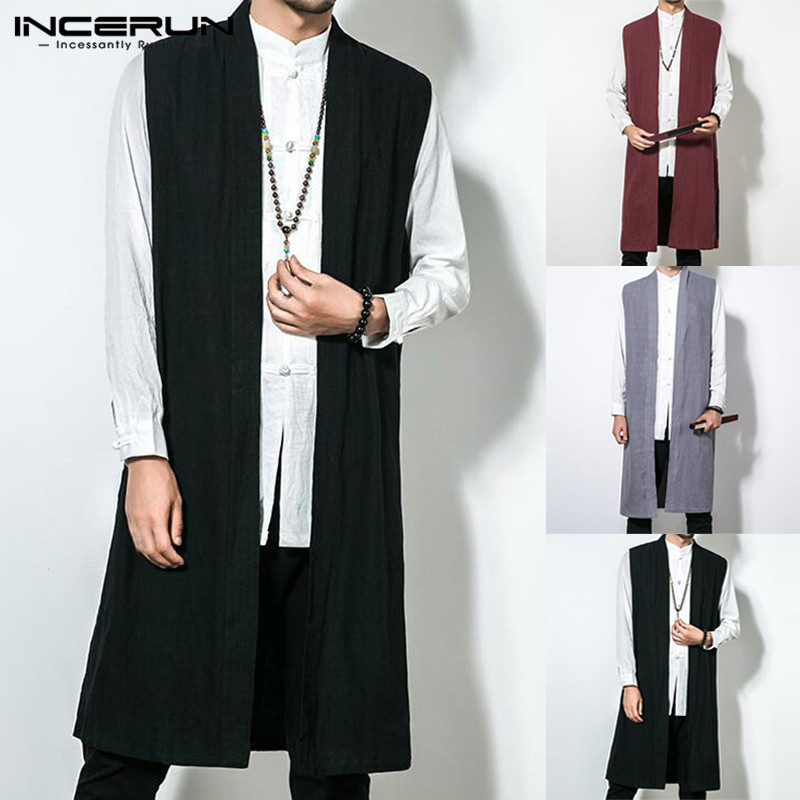 INCERUN Men's Vests Long Trench Sleeveless Cotton Solid Men Waistcoat Chinese Style Vintage Casual Cloak Outerwear Jackets L-5XL