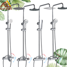 цена на Quyanre Chrome Thermostatic Shower Faucet Bathroom Bathtub Thermostatic Shower Dual Handles Hot Cold Water Tap Tub Spout Shower
