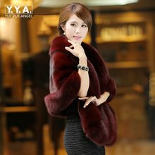 Winter Ladies Warm Faux Fur Capes Fox Fur Formal Court Outwear Winter Short Scarf Women Black Color Casual Coat Free Size(China)