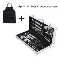 18Pcs Stainless Steel BBQ Tools Set Barbecue Grilling Utensil Accessories Camping Outdoor Cooking Tools Kit BBQ Utensils