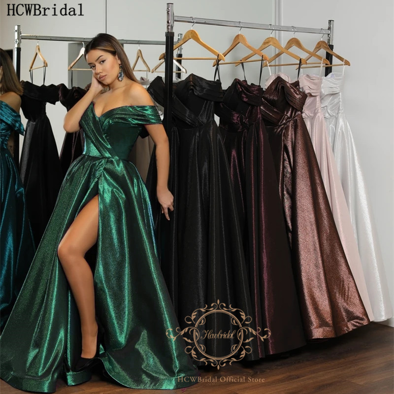 Glitter Green Arabic Prom Dresses With Slit Off The Shoulder Sexy Girls Graduation Dress Plus Size Evening Party Gown Customize