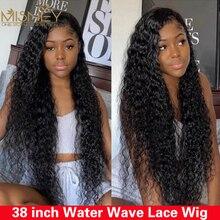 38 дюймов Волнистые парик HD Синтетические волосы на кружеве al парик предварительно вырезанные T кружевные парики 13x4 Синтетические волосы на ...