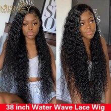 38 polegada onda de água peruca hd laço frontal peruca pré arrancadas t perucas de renda 13x4 peruca dianteira do laço perucas de cabelo humano para mulher frete grátis