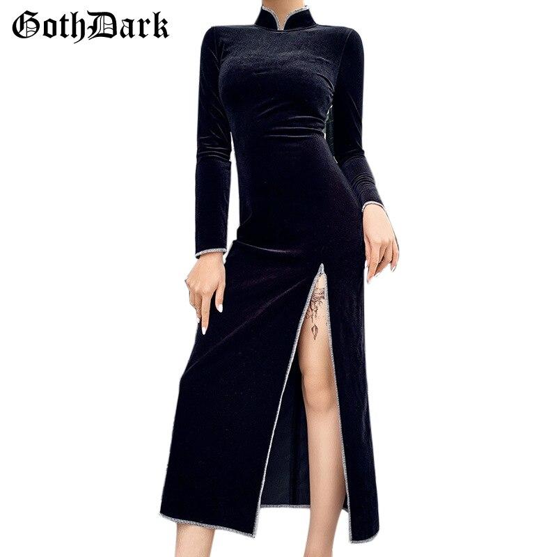 Goth Dark Black Gothic Women's Dress Cheongsam Vintage Grunge Harajuku  Winter 2019 Longsleeve Splice Zipper Female Dresses Chic