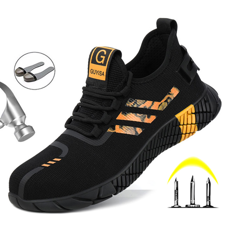 Breathable Men's Safety Shoes Boots With Steel Toe Cap Casual Men's Boots Work Indestructible Shoes Puncture-Proof Work Sneakers 2