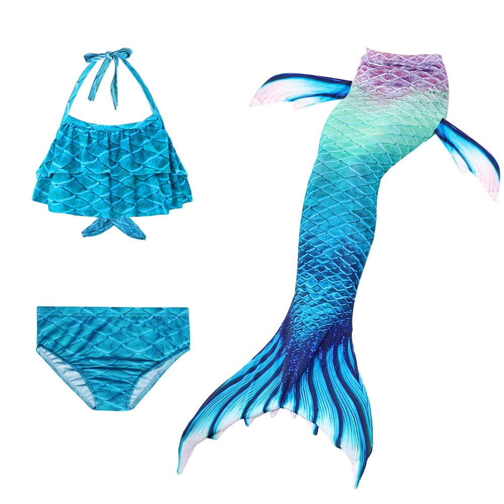 Bikini-Sets Swimsuit Mermaid-Costume Swimmable Girls Kids Children for 3pcs