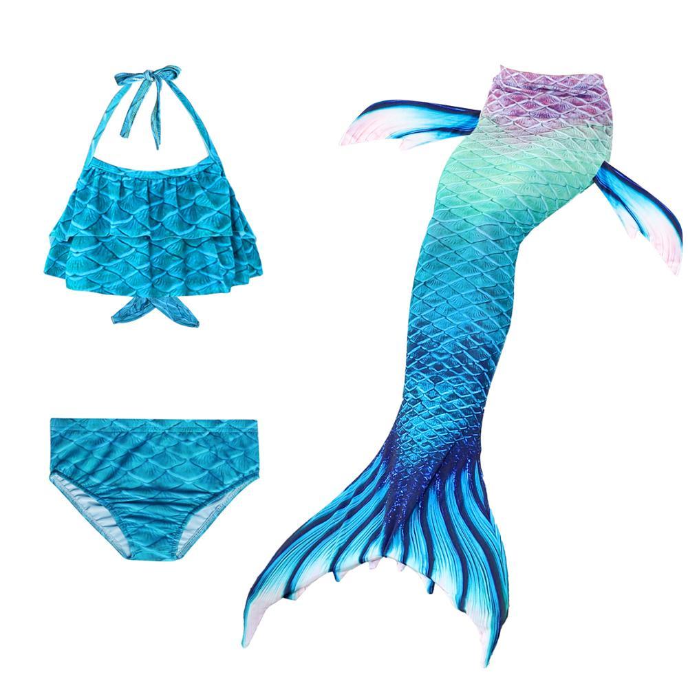 Children Mermaid Swimming Suit 3pcs Mermaid Tails Swimmable Swimsuit Mermaid Costume Clothes Swimwear Bikini Sets For Girls Kids